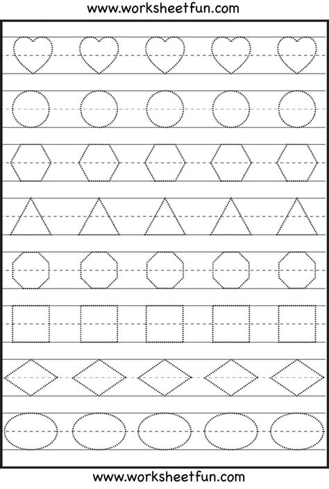 printable letters numbers and shapes shape tracing kindergarten worksheets pinterest