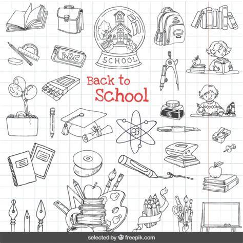 imagenes en blanco y negro de utiles escolares volver a iconos de la escuela set descargar vectores gratis