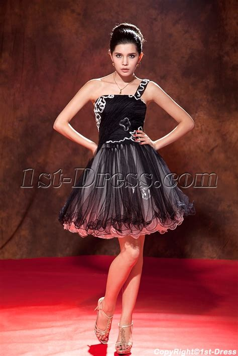 Dress Sweet Two Color Mix Import Premium Quality black one shoulder charming sweet 16 gown 1st dress