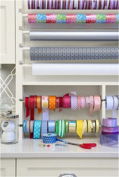 Craft Room Paper Storage - craft room wrapping station organized craft rooms