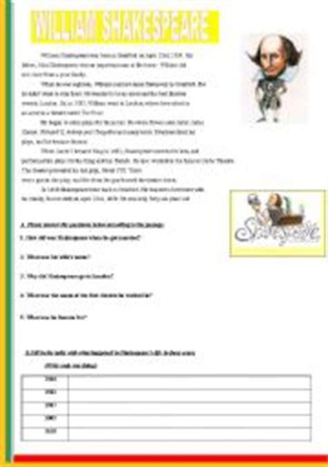 shakespeare biography exercises english teaching worksheets william shakespeare