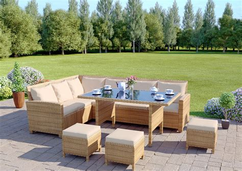 Light Wicker Outdoor Furniture 9 Seat Light Brown Rattan Garden Furniture Corner Sofa Dining Set From Abreo Abreo Home Furniture