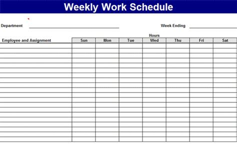 weekly work schedule schedules templates