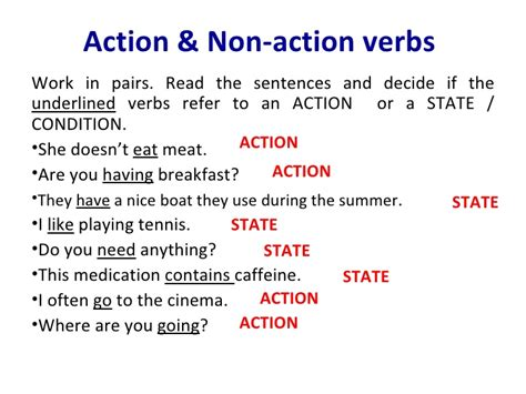 boat definition past tense action non action verbs explanation