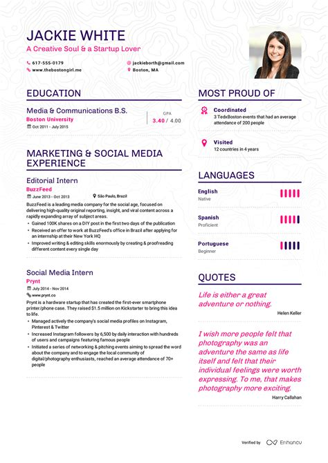 Resume Software by Examples Of Resumes By Enhancv