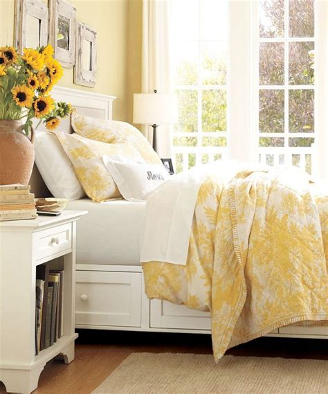 yellow and blue bedrooms white matine toile duvet cover sham marigold pottery barn