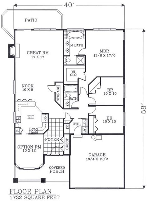 narrow lot house plans with basement 1732 sf no basement stairway access floor plan of