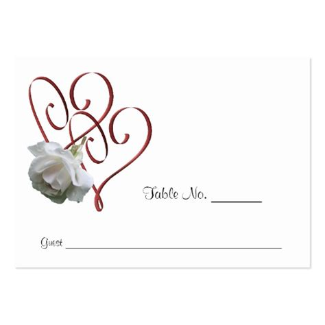 white rose heart wedding table place cards large business