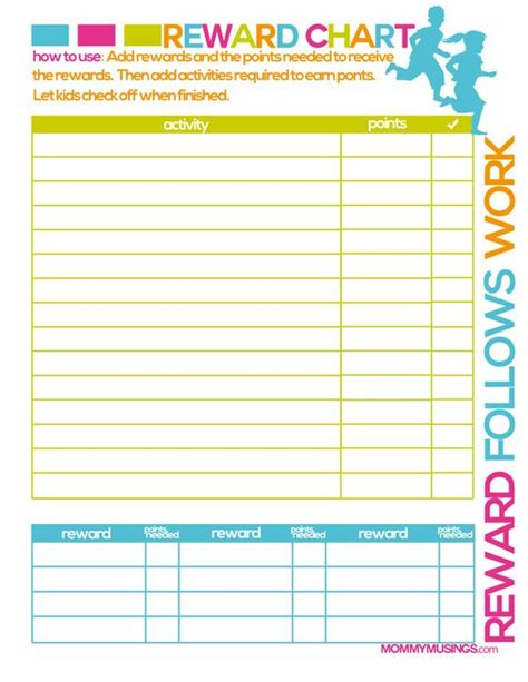 printable reward charts for 11 year olds free printable kids chore rewards chart kids rewards