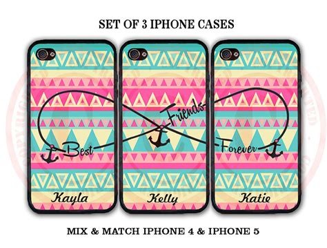 best cover for 3 personalized pink mint aztec bff best friends 3 cases for