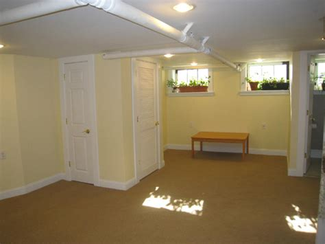 Low Ceiling Finished Basement by Keil Design Montclair Basement Renovation