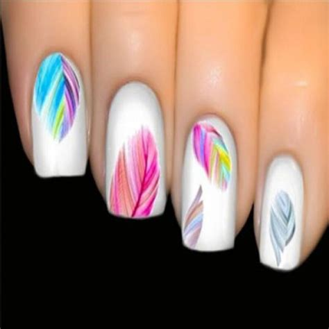 Ongles Nail by Stickers Vernis Nail Ongles Plumes Multicolores Boho