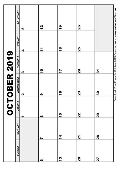 Calendar 2019 October October 2019 Calendar November 2019 Calendar