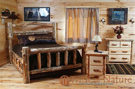log bedroom set  shipping king size log bed log