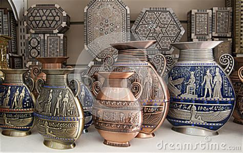 vasi egiziani vases are on the showcase royalty free stock
