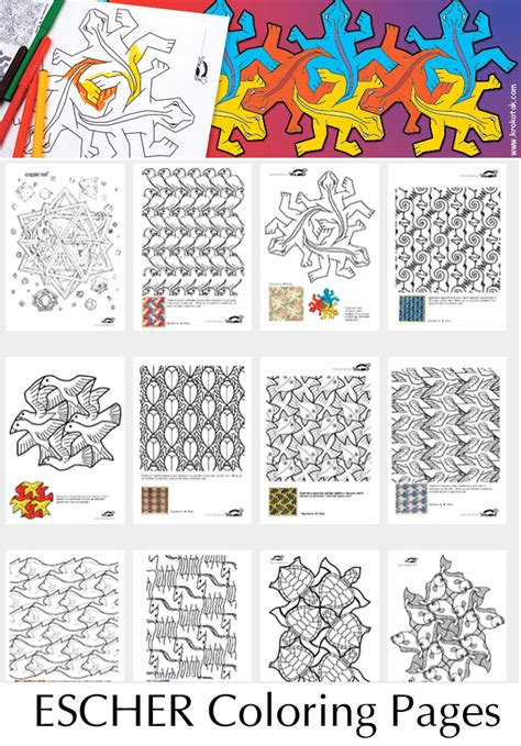 teaching pattern in art krokotak let s draw escher style 13 coloring pages