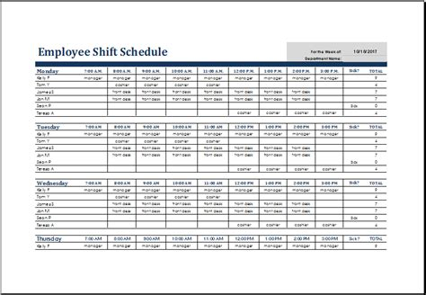 Excel Shift Schedule Template Schedule Template Free Employees Work Schedule Template For Excel