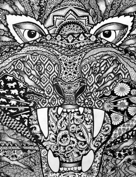 coloring pages for adults tiger 269 best images about zentangle animals on pinterest