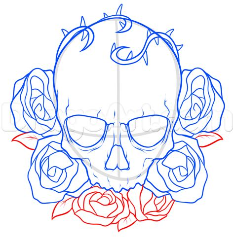 how to draw tattoos step by step how to draw a skull and roses step by step