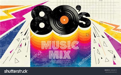 party music 80s music mix retro style 80s stock vector 540828019