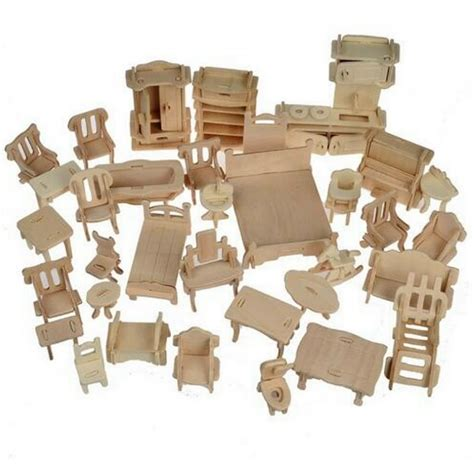 wood doll house furniture 1set 34pcs diy wooden doll house dollhouse furniture 3d simulation miniature set ebay