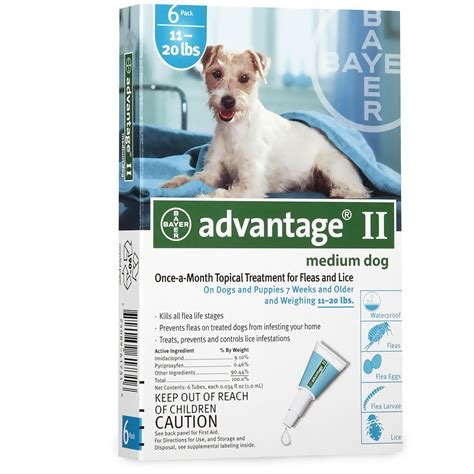 advantage for dogs 11 20 lbs 6 month advantage ii flea medium for dogs 11 20 lbs