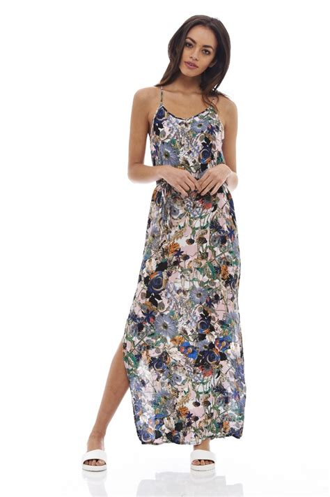colored maxi dresses multi colored floral print maxi dress with slit