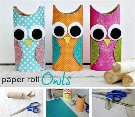 Arts And Crafts With Paper Towel Rolls - and easy owl decoration from an empty paper towel