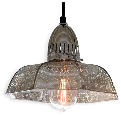 Antique Glass Pendant Lights Birger Industrial Loft Antique Mercury Glass Dish Pendant Transitional Pendant Lighting By