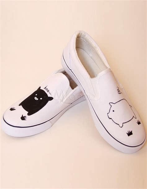 Sweet Black Shoes sweet black white pigs canvas rubber sole painted shoes