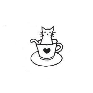 kitty cat kitten in a teacup rubber stamp mini kitty