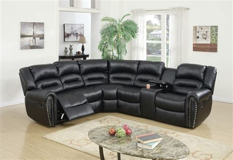 Black Reclining Sectional by F6743 Cat 17 P47 3pc Reclining Sectional Black