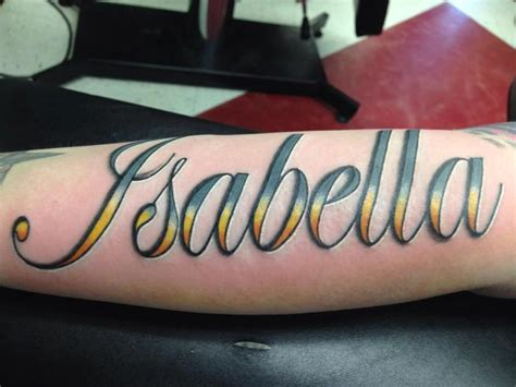 Tattoo Lettering In Color | isabella in color script by izzy morales tattoonow
