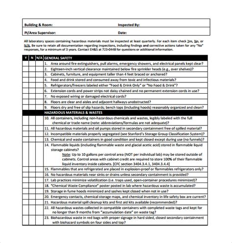 14 Inspection Checklist Sles Sle Templates Equipment Inspection Form Template
