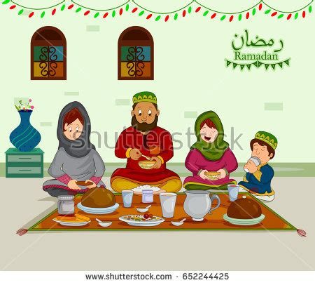 All You Can Eat Ied Fitr Dinner happy muslim family enjoying iftar eid stock vector