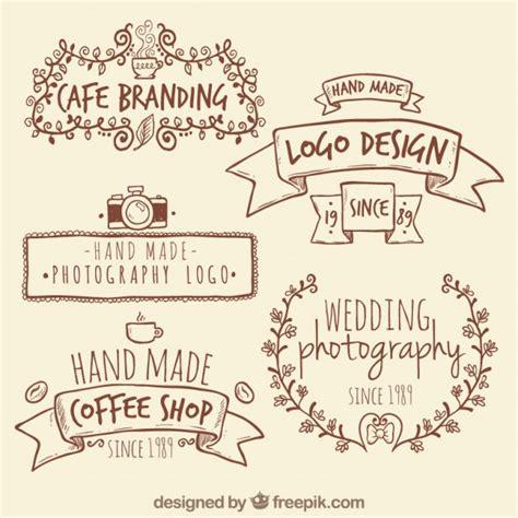 Handmade Logos - handmade retro logos vector premium