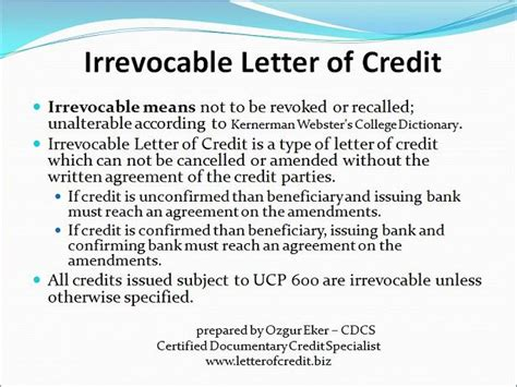Letter Of Credit Beneficiary Bank Types Of Letters Of Credit Presentation 4 Lc Worldwide International Letter Of Credit