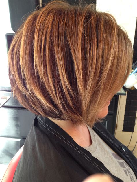 short soft layered brunetts hair cuts stacked bob highlighted brunette razored bob soft
