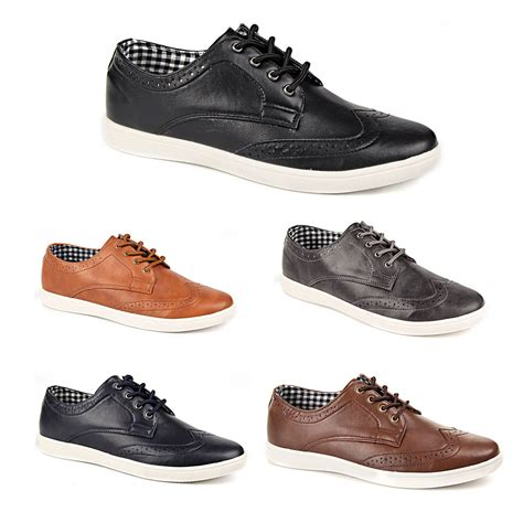 mens causal boots mens casual smart leather lace up trainers brogue shoes