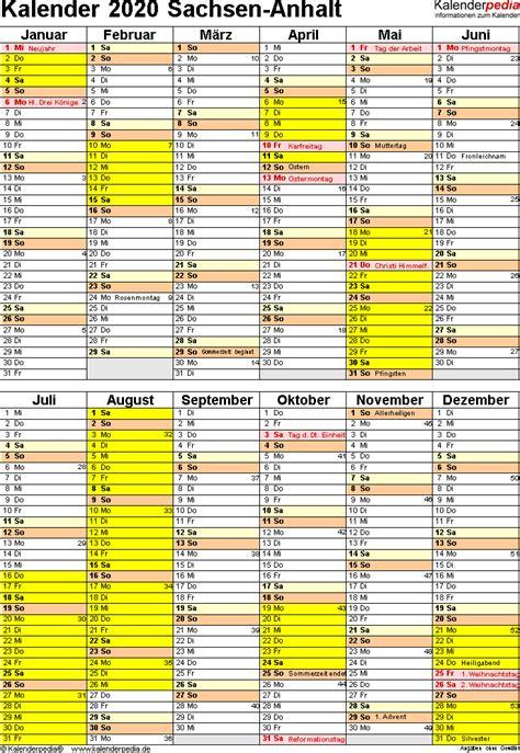 kalender  sachsen anhalt ferien feiertage excel vorlagen