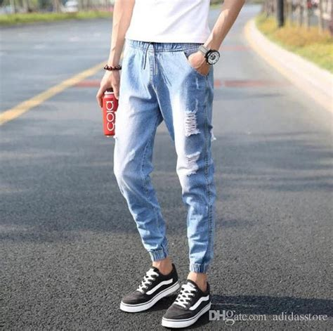 Baggy Ripped Celana Joger Bahan 2017 2016 summer style ripped fashion casual mens jogger hip hop baggy