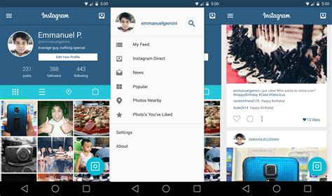 layout app instagram android instagram with a material design makeover looks amazing