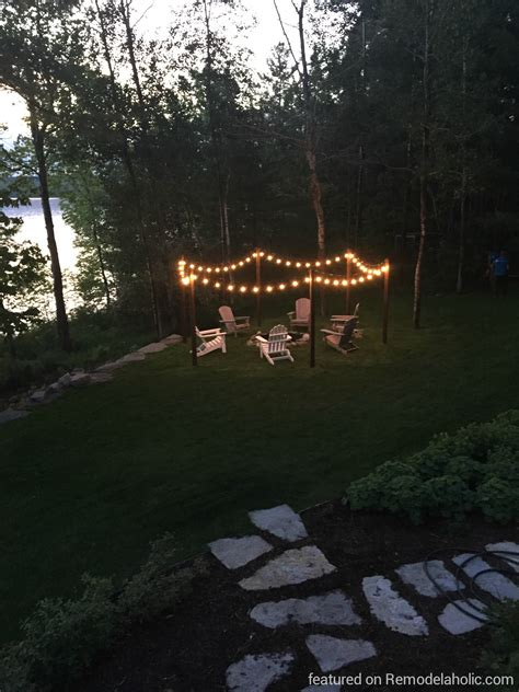 outdoor l posts lighting remodelaholic easy diy outdoor lighting around a pit
