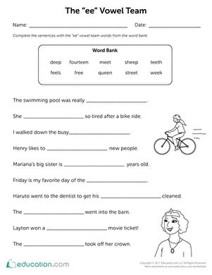 Vowel Team Worksheets by E And E Page 3 Education
