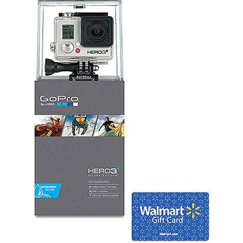 Walmart Gift Card Value - gopro hero3 silver edition action camcorder and 25 walmart gift card value bundle