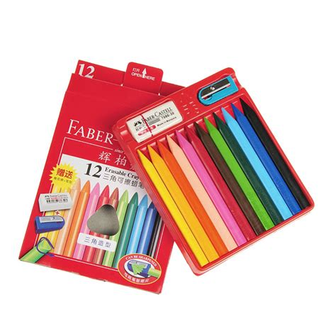 Crayon Apik 12 Colour the german faber castell 12 color triangle erasable crayons crayon stationery in crayons