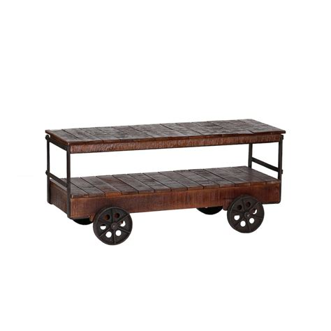 Cart Style Coffee Table Industrial Cart Trolley Coffee Table Vintage Style With Reclaimed Wood
