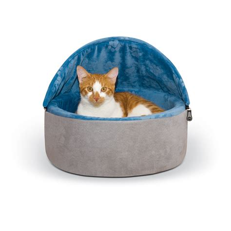 petco cat beds k h blue and gray self warming hooded cat bed petco