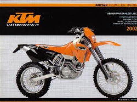 2002 Ktm 400 Exc Review 2002 Ktm 400 520 Sx Mxc Exc Racing Motorcycle Owners Handbook