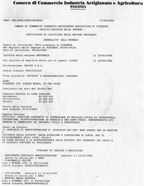 certificato di iscrizione alla di commercio colf piacenza seotoolnet